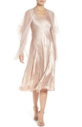 Komarov Women's Lace And Charmeuse Dress With Shawl