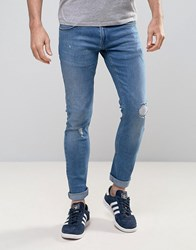 Redefined Rebel Slim Jeans With Distressing In Mid Wash Blue Light Blue