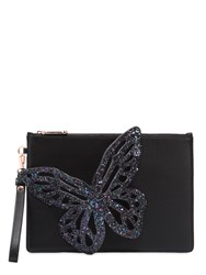 Sophia Webster Flossy Butterfly Leather Clutch Black
