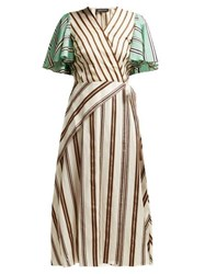 Anna October Multi Stripe Wrap Dress Cream Multi