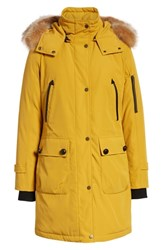 Pendleton 'Jackson' Hooded Down Parka With Genuine Coyote Fur Trim Goldenrod