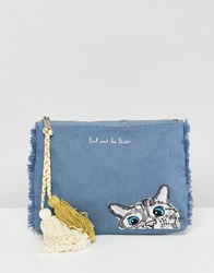 Paul And Joe Sister Denim Cat Clutch Bag Blue