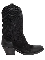 Elena Iachi 50Mm Embroidered Crust Leather Boots