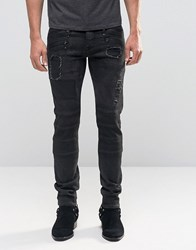 Asos Skinny Jeans In Biker Style With Rip Details Black