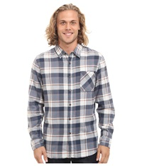 Rip Curl Monument Long Sleeve Flannel Blue Grey Men's Clothing