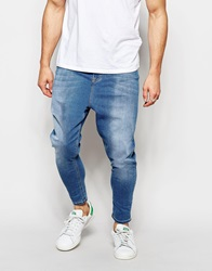 Asos Spray On Drop Crotch Jeans Midwashblue
