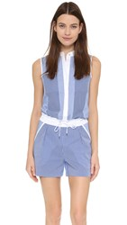 Ohne Titel Striped Romper White Blue Stripe