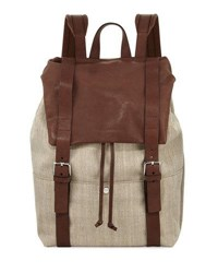 Brunello Cucinelli Men's Canvas And Leather Backpack Beige