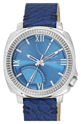 Vince Camuto Multifunction Leather Strap Watch 50Mm Navy Silver