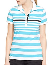Lauren Ralph Lauren Active Stripe Polo Shirt New Turquoise Multi