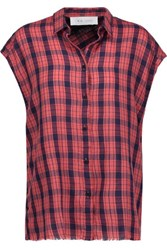 Iro Kenna Plaid Wool And Linen Blend Top Red