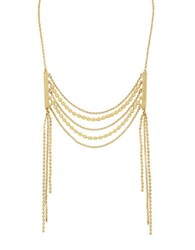 Cole Haan 1 25 Metropolitan Club Gold Tone Brass White Metal Frontal Necklace