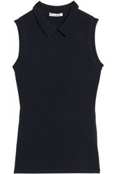 Autumn Cashmere Perforated Ribbed Knit Top Midnight Blue