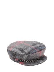 Eugenia Kim Marina Plaid Wool And Mohair Blend Hat Grey