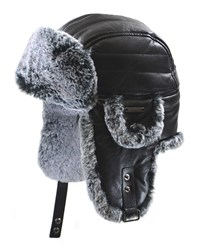 Crown Cap Faux Fur Aviator Hat Black