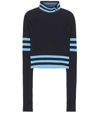 Versace Cropped Wool Blend Sweater Blue