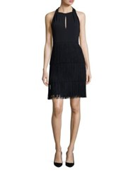 David Meister Tiered Fringe Dress