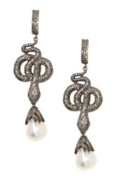 Lori Kassin Fine Jewelry Champagne Diamond And Baroque Pearl Snake Earrings White
