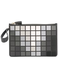 Anya Hindmarch Tile Clutch Women Leather Suede One Size Grey