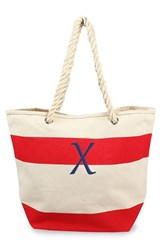 Cathy's Concepts Personalized Stripe Canvas Tote Red Red X