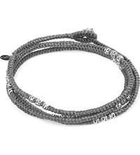 M Cohen M. Knotted 4 Layer Thai Stamp Wrap Bracelet Grey