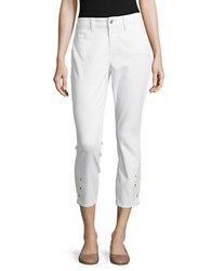 Nydj Petite Embroidered Ankle Jeans Optic White
