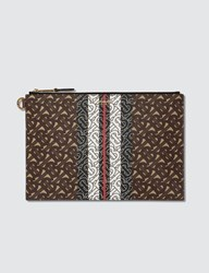 Burberry Monogram Print Flat Pouch Brown