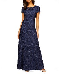 Alex Evenings Plus Embellished Rosette Gown Navy