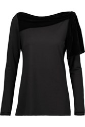 Raoul Lamya Knotted Velvet Trimmed Stretch Jersey Top Black