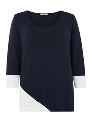 Persona Long Sleeve Top With Colour Block Detail Navy