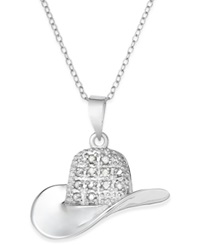 Macy's Diamond Cowboy Hat Pendant In Sterling Silver 1 10 Ct. T.W.