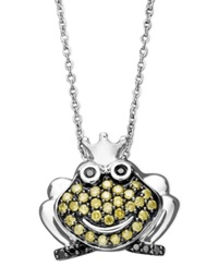 Macy's Sterling Silver Necklace Yellow Diamond 1 2 Ct. T.W. And Black Diamond Accent Frog Pendant