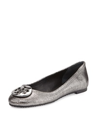 Reva Metallic Leather Ballet Flat Pewter Tory Burch
