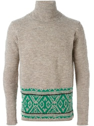 Kolor Intarsia Knit Turtle Neck Sweater Nude And Neutrals