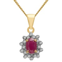 A B Davis 9Ct Gold Oval Precious Stone And Diamond Cluster Pendant Necklace Yellow Gold Ruby