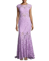 Jovani Open Back Lace And Tulle Gown Lavender