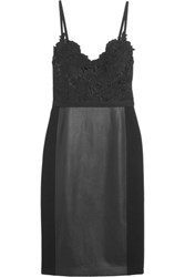 Catherine Deane Gwen Guipure Lace Faux Leather And Jersey Dress Black