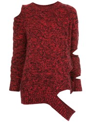 Zoe Jordan Cut Out Knitted Jumper Red