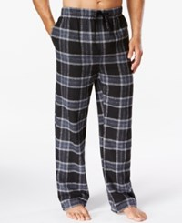 Perry Ellis Plaid Flannel Pajama Pants Black Grey