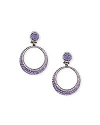 Jose And Maria Barrera Pave Hoop Clip Earrings Lavender