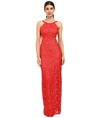 Aidan Mattox Long Lace Halter Gown With Open Back And Cut Out Sides Red Women's Dress
