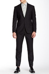 Kenneth Cole Reaction Pinstripe Two Button Notch Lapel Wool Suit Black