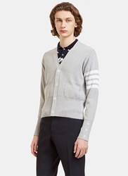 Thom Browne Ribbed Stripe V Neck Cardigan Grey