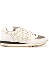 Brunello Cucinelli Embellished Suede And Leather Sneakers Cream