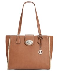 Giani Bernini Faux Shearling Trim Tote Only At Macy's Tobacco