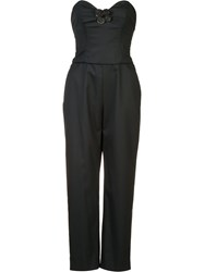Carolina Herrera Floral Applique Jumpsuit Black