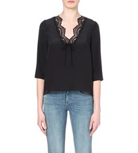 Claudie Pierlot Ballroom Lace Trimmed Satin Top Marine