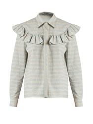 Miu Miu Ruffle Trimmed Checked Cotton Shirt Light Blue