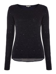 Salsa Long Sleeve Sequin Layer Knit Sweater Navy