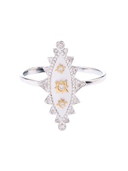 Elise Dray Diamond White Gold And Yellow Gold Khalessi Ring